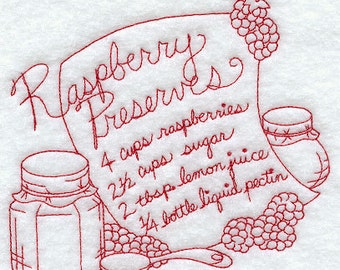 Raspberry Preserves Recipe  Embroidered Kitchen Towel -  Raspberry Preserves Tea Towel