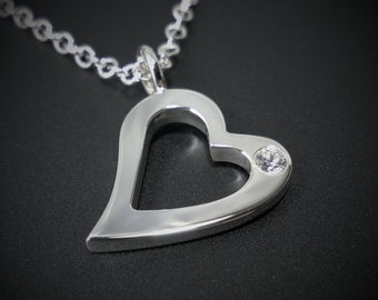 Sterling Silver Diamond Open Heart Necklace Pendant - Sterling Silver Heart Necklace, Sterling Heart Necklace, Diamond Heart Necklace, Heart