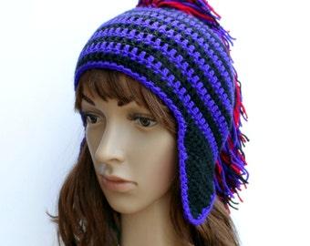 Ear-Flap Hat, Beanie, Mohawk stripey Hat, Goth, Emo, Punk Head Wear