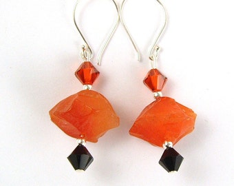 Carved Carnelian Chunky Earrings