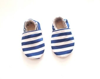 Baby Booties- Navy & White Stripe