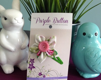 Button Flower Hair Clip - Large