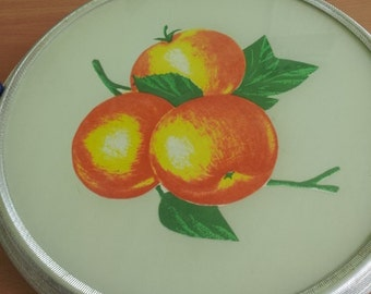 Soviet Vintage Rotary Cake Plate With Apples Made in USSR in 1970s