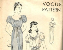 40s lingerie Sewing Pattern Unprinted Vintage Nightgown Negligee Long Gown Puffy Sleeves Old Hollywood Swing Style Vogue 8997 Size Medium