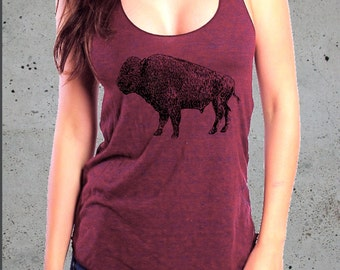 BUFFALO Tshirt BISON Tee Bison Tank /Gift Graphic tee Tank Native American Festival Top(women american apparel top)-Girlfriend Gifts for her