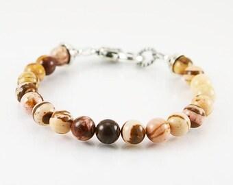 Men bracelet with brown zebra jasper , mens bracelet, gemstone bracelet, gemstone men bracelet,  beaded bracelet, men jewelry, gift for him