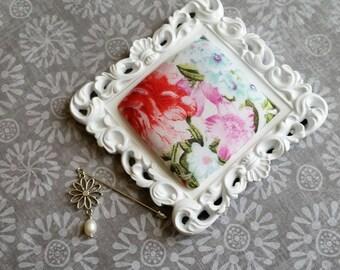 White Pin Cushion Frame Pin Hijab Pin Cushion floral Pin Cushion