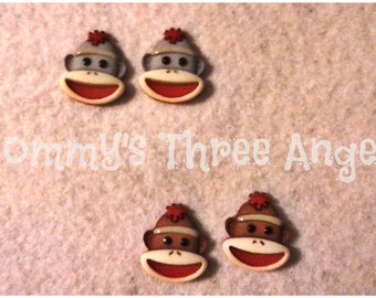 Sock Monkey Button Earrings/Studs (Gray or Brown) READY TO SHIP