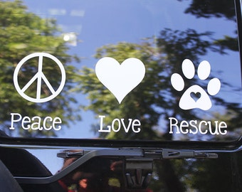Peace Love Rescue vinyl decal for car.  Show your support of rescue animals. Peace love and rescue decal with peace sign heart and paw.