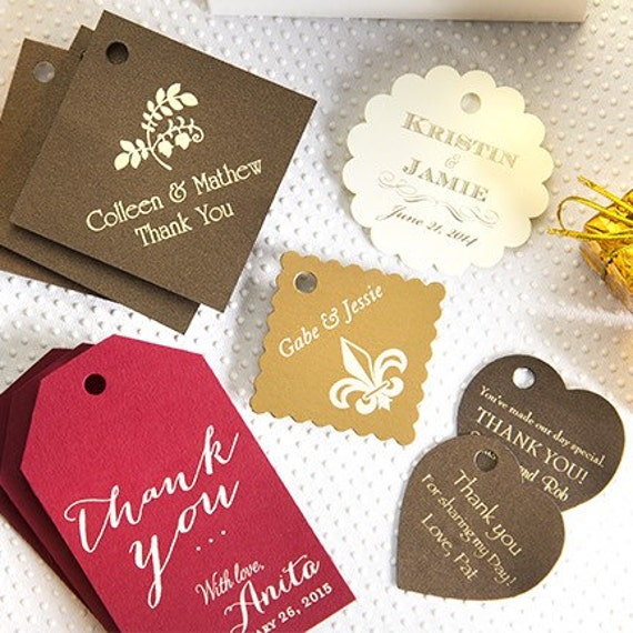 Personalized gift tag, party tag, reception gift tag, wine tag, foil stamped stationery, wrapping paper tag
