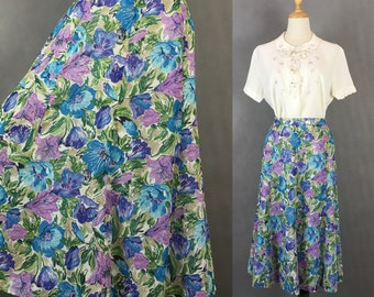 30% Off Summer Sale / Vintage Japanese Water Color Floral Skirt / Summer Day Cotton Skirt / Made in Japan / Size Small Medium