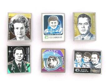 Space, Set of 6 Vintage metal collectible badges, Cosmonaut, Soviet Vintage Pin, Vintage Badge, Made in USSR