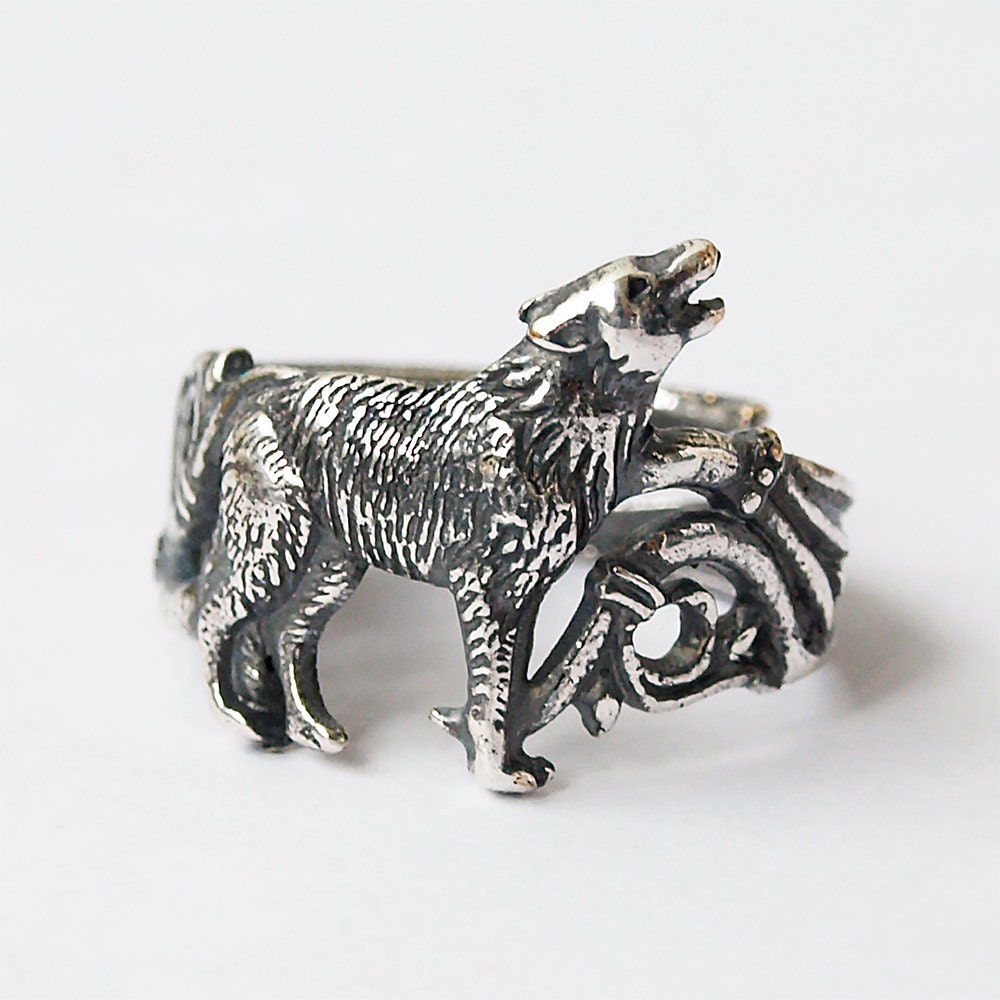 wolf ring howling wolf wolf wolf jewelry silver plated