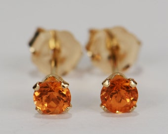 Mandarin Garnet Earrings~14 KT Yellow Gold~3mm Round Cut~Genuine Natural Mined