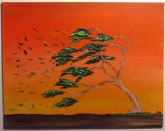 """Original 11"""" x 14"""" Acrylic Tree Painting on a canvas panel. """"One of those Days"""""""