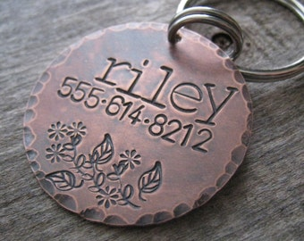RILEY  - Hand Stamped Pet ID Tag,  Dog Tag , Dog Collar Tag,  Handsatmped Pet Tag - Copper Dog Tag
