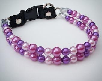 Multi Purple Pearls Double Strand Dog Collar,Cat collar, Buckle Collars, Martingale Collars, Dog Pearls UNBREAKABLE GUARANTEE!