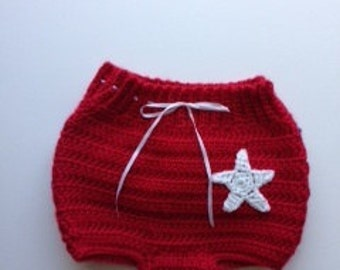 Baby girl 4th of July diaper cover, 3-6 months, hand crocheted