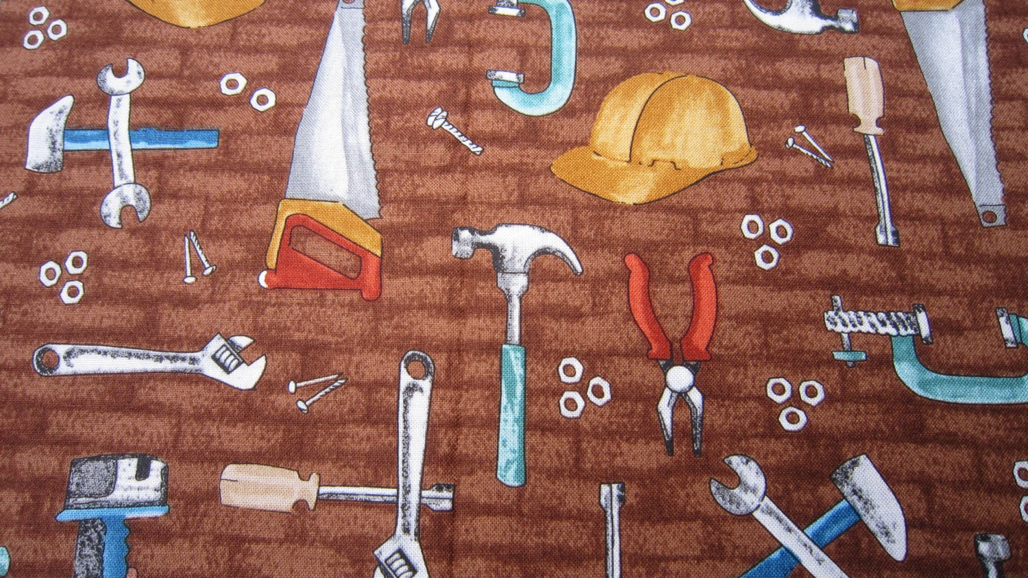 Cotton Carpenters Tool Fabric In Brown By Blank Quilting