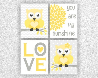 Yellow and gray Owl Nursery Printable, Love, Flower, You are my sunshine, Chevron, Baby Room wall decor Set of 4, 8x10, INSTANT DOWNLOAD