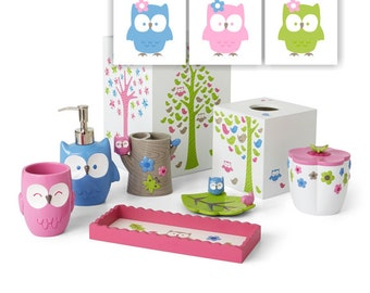 Pink Blue Green Owl Girl Bathroom Decor Wall Art Wash Brush Flush Owl Bathroom