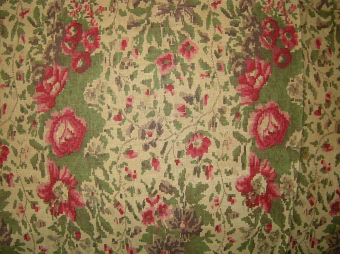 Victorian cotton floral print fabric remnant red and pink for Victorian floral fabric