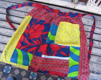 Retro/Vintage Patchwork Apron - Blue and Red - Handmade