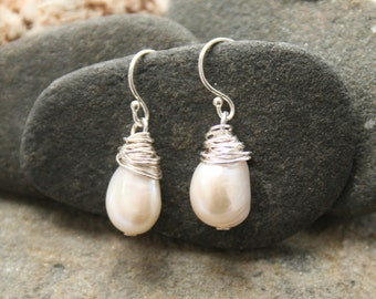 Pearl earrings, wire wrapped earrings, freshwater pearl earrings, sterling silver earrings, wedding earrings, bridesmaid earrings