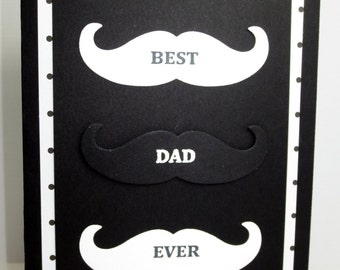 Stampin Up Fathers Day Card: Handmade Dad Card, Mustache, Best Dad Ever, Masculine Card, Blank Inside