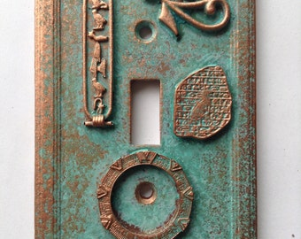Stargate - Light Switch Cover - Aged Copper/Patina or Stone