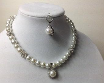 Bridal Pearl Necklace, bridesmaid Rhinestone pendant Necklace, Pearl Bridal Necklace, single strand Bridal jewelry, Wedding Jewelry #1058