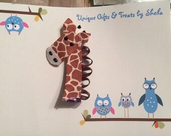 Handmade Sculpture Giraffe  Hair Clip