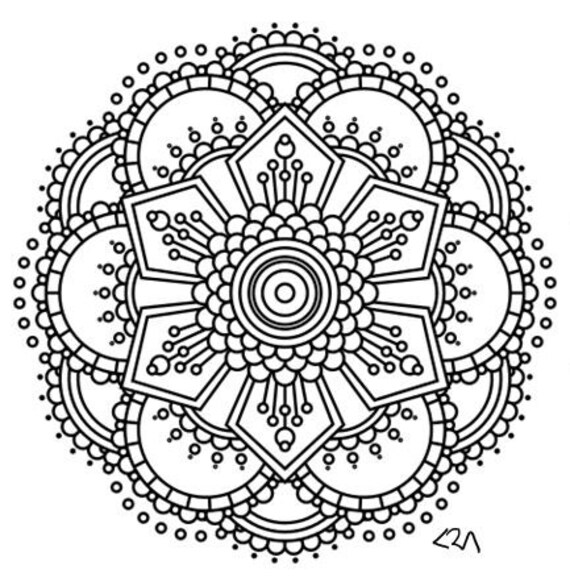 items similar to mandala adult coloring page 2 on etsy. Black Bedroom Furniture Sets. Home Design Ideas