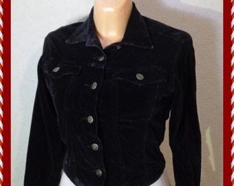 Black Womens Jacket   Plush, Velvet Blazer/ Smail  Size