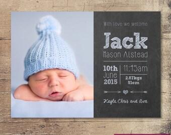 Printable Chalkboard Style Baby Birth Announcement card / Customisable Digital File / JPG or PDF