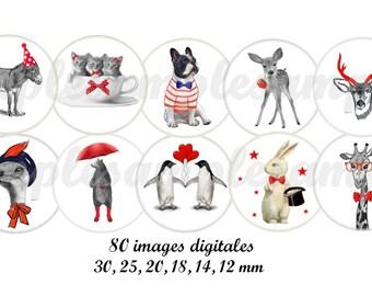 digital bottle cap animal digital collage sheet animals dog, bulldog, cat, kitten,donkey, one inch circle bottle cap images instant download