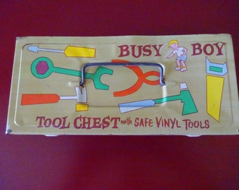 Vintage 1960's Busy Boy Tool Chest With Safe Vinyl Tools - FREE SHIPPING