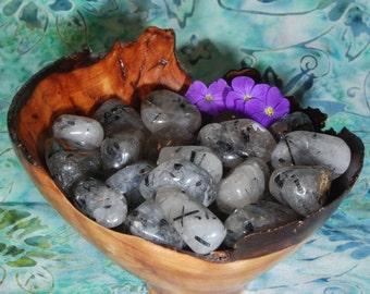 1 BLACK TOURMALINE QUARTZ Tumbled Stone - Black Tourmaline Quartz Crystal, Black Tourmaline Quartz Stone, Black Tourmaline Quartz Gemstone