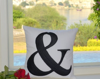 Ampersand Pillow 30% OFF Sale with Filling Cushion Home Decor Typography Letter Number Pillow in All Sizes And Color