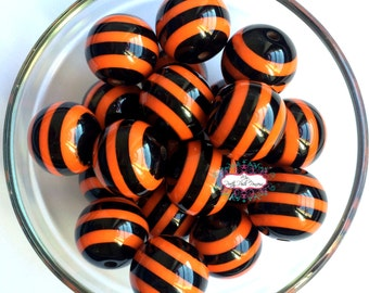 20mm Black & Orange Halloween Striped Chunky Bubble Gum Beads Set of 10