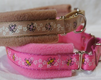 Fleece Lined Martingale Dog Collar - Honey Bees & Flowers - 50mm width