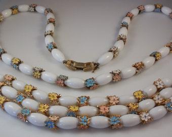 Vintage 1960s Crown Trifari Milk Glass Pastel Enamel Daisy Necklace Bracelet Demi Parure