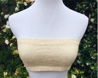 Cream Floral Bandeau Top