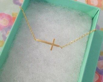 Gold Sideways Cross Dainty Necklace, Women's Necklace, Danity Necklace, Minimalist Necklace, Bridesmaid Gift, Birthday Gift