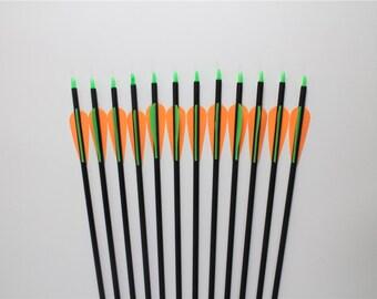 """12 Fiberglass Arrows For Compound Bows 28""""~32"""" Length Archery Target Practice"""