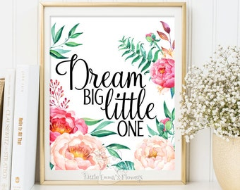 Nursery poster Dream big little one print Kids Wall Art Print Nursery Wall art Decor Playroom decoration nursery decor nursery gift ID3-25