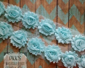 "Aqua 2.5"" Chiffon Shabby Flowers/Wholesale/single/ Yard"