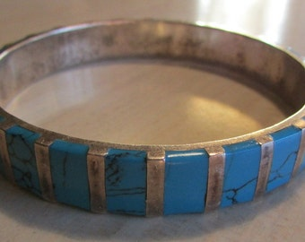 Sterling Silver Bangle Bracelet with Faux Turquoise