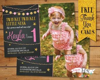 Twinkle Twinkle Little Star Birthday Invitation, Twinkle Twinkle Little Star First Birthday, First Birthday Invitation, Pink and Gold