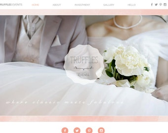 Pink Watercolor Premade Website Template Perfect for Event Planners or Bridal - Stunning Masonry Photo Gallery